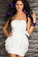 M XXL Plus size elegant 2014 women evening dress strapless sleeveless off shoulder sexy clubwear party mini dress with bow blet