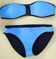 2014 Sexy swimwear Women's fashion Neoprene Bikini sexy Neoprene SWIMSUIT MIAMI MINT Bikini Set Bandeau Neoprene bikini S-XL