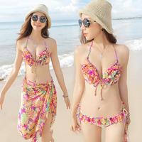 2014 bribed swimwear female bikini piece skirt set steel push up yarn hot spring swimsuit