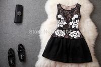 2014 brand new women's spring summer fashion wear European top brand fashion embroidery silk dress elegance party dress T1821