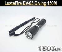 20SET/LOT LusteFire DV-03 Professional Diving Cree L2 LED 1800 Lumen 150m Diving Flashlight Torch Light