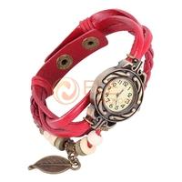 Vintage Women Dress Watchs Leaf Style Leather Band Quartz Analog Bracelet fashion wrist watch