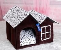 Free Shipping 2014 New Arrival Dog House Luxury The Short Plush Pet Villa Comfortable PP Cotton Cushion inside