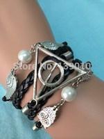 Free Shipping!6PCS/LOT!Black Braided Leather Rope Strap Bracelet Trendy Wing Bead Harry Potter Owl Charm Men Friend Jewelry W534