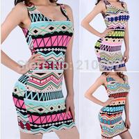 2014 Summer New Geometric Print Dress Colorful Print Sexy Dress Mini Dress 4 colors