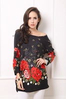 New Arrival Women Print  Wide and Loose Fashion  Long T-shirt Long sleeves