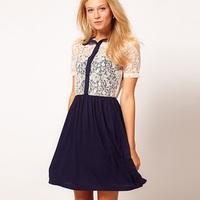 Hot Sale Good Quality New 2014 Europe Women Fashion Brand Dress Girl Cute Chiffon and Lace Dress Lady Party Dress Free Shipping