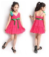 2014 Fashion Kids Maxi Dress Girl Voile Patchwork Vest Dress Summer Korea Style Bohemian Dress Flower Vacation Beach Dress