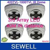 420 700tvline 800TVL 1000TVL CMOS IR Dome Camera 4pcs, Array LED 35M Indoor surveillance camera, 800free shipping,drop shipping