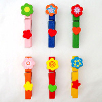 Free shipping  long colorful flower photos wedding mini clip Wooden Clip Pegs Kids Crafts Party Favor Supply 120pcs/lot