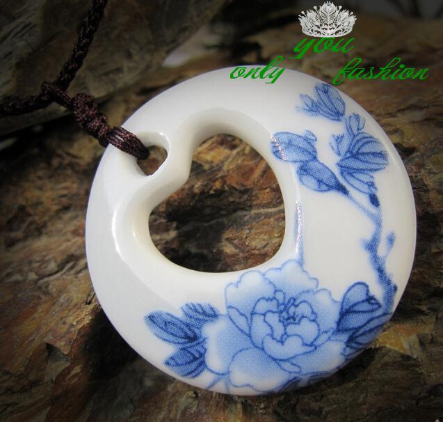 Porcelain Pendant Necklace Porcelain Heart Pendant