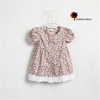 New Classical Children Dress Girls Summer Floral Cotton Ruffles Dress Children Blouse