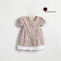 New Classical Children Dress Girls Summer Floral Cotton Ruffles Dress Children Blouse
