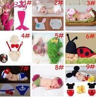 Crochet Baby Flower Headband&Pants Set Infant Girl Hand Knitted Photo Props Handmade Girl Headband Diaper 1set MZS-14020