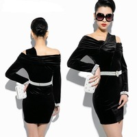 Free shipping new 2014 short party dress women fashion pearl belt long sleeve dress party evening elegant vestido de festa