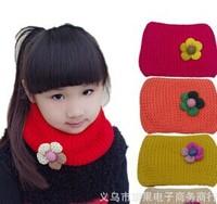 Candy double flower scarf towel wool scarf knitting baby bib collar[240857]