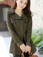 Fashion Brand Trench Coats For Women Ladies  2014 Short  Design Trench Slim Outerwear Bow Belt Single Breasted  Arm Green Coats