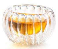 6pcs/ lot Handmade heat-resistant  pumpkin glass cup double layer  istikan  kung fu tea stripe cup  50ml