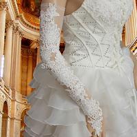 (CZML04)2014 Sexy Luxury &Fashionable  100% Handmade Long White Lace Wedding Gloves Bridal Fingerless for Girls