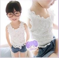 2014 Children clothing crochet lace top vest summer new Korean girls lace vest