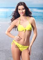 2014 new latest design brand women sexy gather steel prop bikinis set swimsuit swimwear