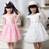 New Princess Children dress lovely floral veil,beautiful flower girls' dress,Baby Kids Children's summer Dress