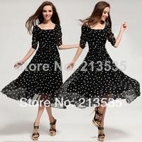 2014 New women's double-layer ruffles dot long party dress Free shipping