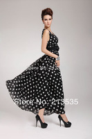 2014 women's DOUBLE-LAYER RUFFLES DOT LONG PARTY DRESS BELT Free shipping