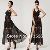 2014 women's Senior long chiffon dress put on a large v-neck dress Free shipping ,Good quality
