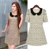 Fashion 2014 peter pan collar pullover lace flower short-sleeve dress female
