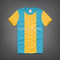 Free Shipping, 100% cotton men t shirt Men's Fashion Short Sleeve Tee brand Stripe T Shirts, Good Quality, Retail, Wholesale,