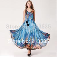 2014 women's Mysterious ocean, dresses, double ball belt Free shipping
