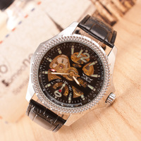 Real leather New Famous Brand  Fashion Casual Stainless Steel Men Mechanical waterproof Watch Skeleton Watch Dress Wristwatch