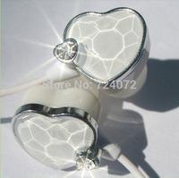 Free ship 5pcs x365 3.5mm women ocean hear earphones with diamond pink blue white female in ear heart shape headphones&headsets