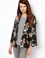 2014 New Fashion Ladies' Vintage Non-button Floral Print loose kimono coat outwear long sleeve casual slim jacket tops
