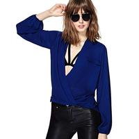 2014 summer new Fashion sexy deep richcoco V-neck loose casual pocket long-sleeve y lantern sleeve chiffon shirt d320