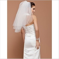 One-tier Tulle Elbow Wedding Veil With Cut Edge 2014