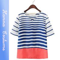 New summer 2014 slim striped t shirt fashion women loose chiffon t-shirt top short sleeve o-neck t shirts woman clothing