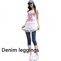 Cropped Denim Leggings welt thin Slim pant Miss Xia Ji thin section Jeans