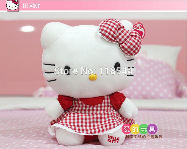 25cm red hello kitty toys plush hello kitty plush soft toys stuffed hello kitty kids toy baby toy one piece free shipping(China (Mainland))