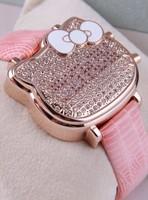 Classic Designer Women Hello Kitty Cartoon Wristwatch Extravagant Full Crystals Case LED Quartz Watches Gift Item Reloj NW39