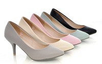 spring autumn 2014 Sexy small pointed toe 7cm thin heels all-match OL work single shoes sweet pumps plus size 34-43