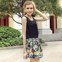 Hot! summer cool women's chiffon vest clothes black color S-L size loose clothes casual clothes free ship
