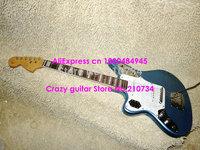 Wholesale -Custom Left Handed Guitar Jaguar style Blue Electric Guitar Custom LOGO Free Shipping