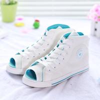 Flat high open toe shoe canvas shoes female shoes breathable
