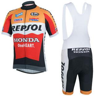 2014 Repsol Honda Short Sleeve Cycling Jersey Bicicleta Jersey Ropa Ciclismo + Cycling Bib Shorts Kit Summer Cycling Clothing(China (Mainland))
