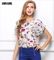 Fashion New Wome Blouse Chiffon Birds Animal Printed O-neck Lantern Sleeve Blouse Loose T-shirts Blouse S-XXL
