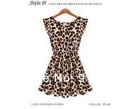 2014 Casual Leopard Girl Dress with  Fashion Women's Chiffon Dress Big Plus Size Free Shipping