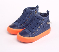 2014 new arrival child canvas shoes high skateboarding shoes male female child single shoes denim sport shoes sneakers
