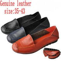 Plus Big Size 40 - 43 Hot New 2014 Cowhide Genuine Leather Loafers Gommini Single Shoes Black+Blue+Orange Women Flats Boat Shoes